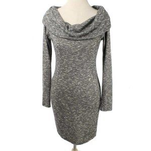 SUN & MOON Gray Marled Knit Cowl Neck Fitted Dress